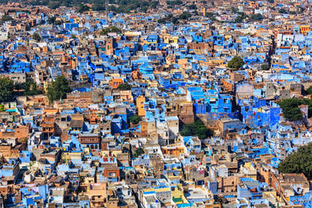 aerial view: Aerial view of Jodhpur, also known as Blue City due to the vivid blue-painted Brahmin houses around Mehrangarh Fort. Jodphur, Rajasthan