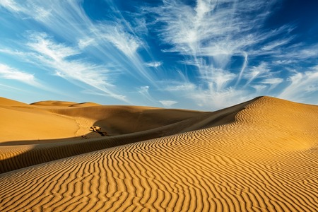 rajasthan: Sam Sand dunes in Thar Desert. Rajasthan, India Stock Photo
