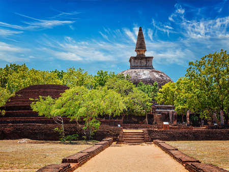 dagoba: Sri Lankan tourist landmark - ruins of  Kiri Vihara Buddhist dagoba. Pollonaruwa, Sri Lanka