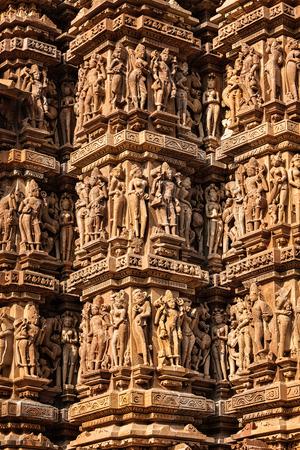 mahadev: Famous stone carving sculptures, Kandariya Mahadev Temple, Khajuraho, India. Unesco World Heritage Site Stock Photo