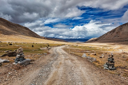 unsurfaced road: Road in Himalayas marked with stone cairns. Ladakh, India