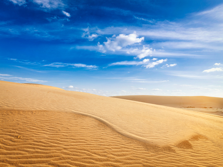 sand dunes: White sand dunes in desert on sunrise, Mui Ne, Vietnam. Stock Photo