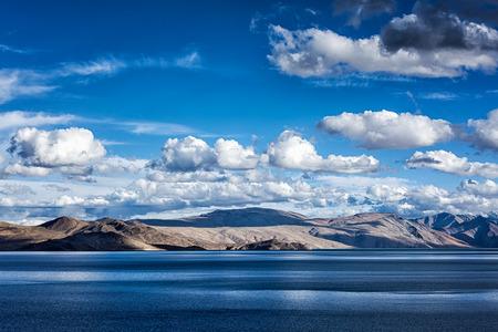cloudiness: Himalayan mountain lake Tso Moriri in Himalayas. Korzok, Changthang area, Ladakh, Jammu and Kashmir, India