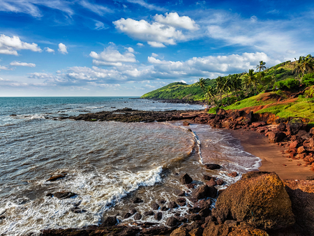 downshifting: Anjuna Beach famous tourist destination, Goa, India