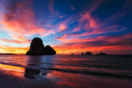 railay: Tropical holidays sunset beach. Pranang beach. Railay , Krabi Province Thailand