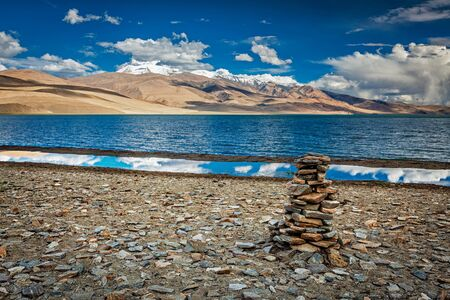 cairn: Stone cairn at Himalayan lake Tso Moriri, Korzok,  Changthang area, Ladakh, Jammu and Kashmir, India