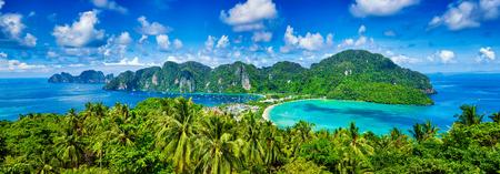 Panorama of tropical islands Phi Phi Don and Phi Phi Leh in sea. Crabi, Thailand