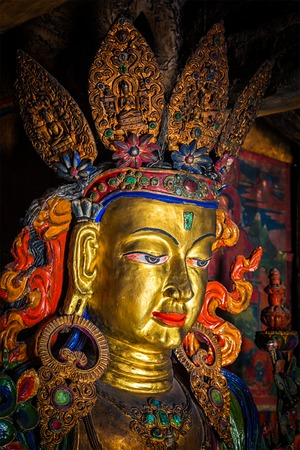gompa: Maitreya Buddha statue close up Tibetan monastery Thiksey Gompa. Ladakh, Jammu and Kashmir, India Stock Photo