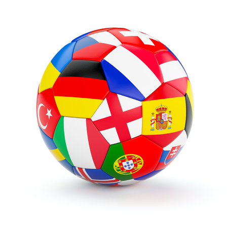 Soccer football ball with Europe countries european flags isolated on white background