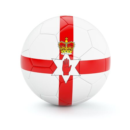 northern ireland: Northern Ireland soccer football ball with flag isolated on white background