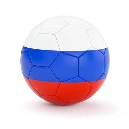 bandera rusia: Rusia pelota de f�tbol de f�tbol con la bandera de Rusia aislada en el fondo blanco Foto de archivo