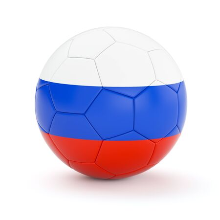 russia flag: Russia soccer football ball with Russian flag isolated on white background Stock Photo