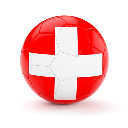 cutouts: Switzerland soccer football ball with Swiss flag isolated on white background