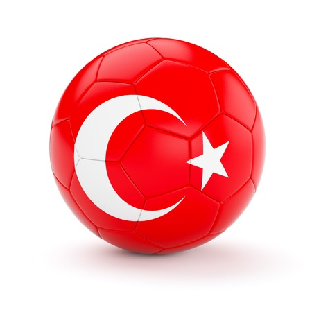 turkish flag: Turkey soccer football ball with Turkish flag isolated on white background Stock Photo