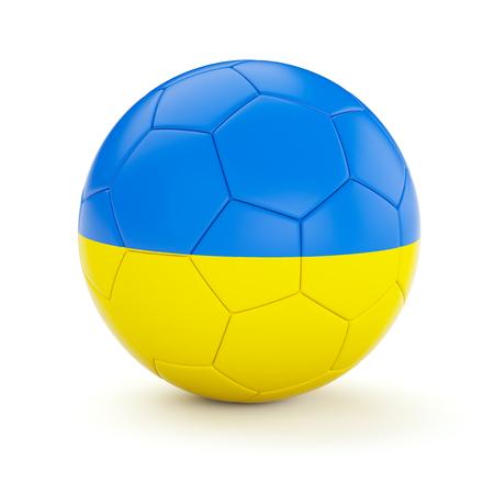 ukrainian flag: Ukraine soccer football ball with Ukrainian flag isolated on white background