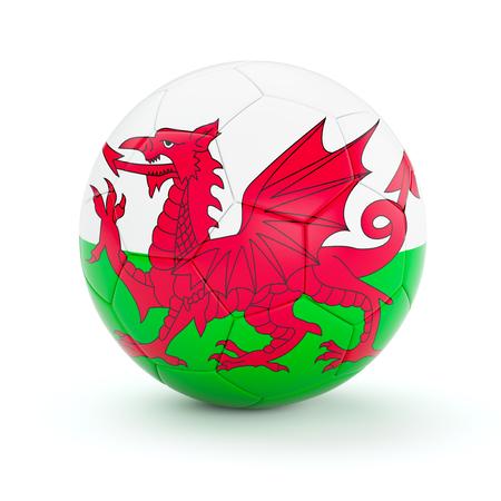welsh flag: Galles sfera di calcio calcio con la bandiera gallese isolato su sfondo bianco