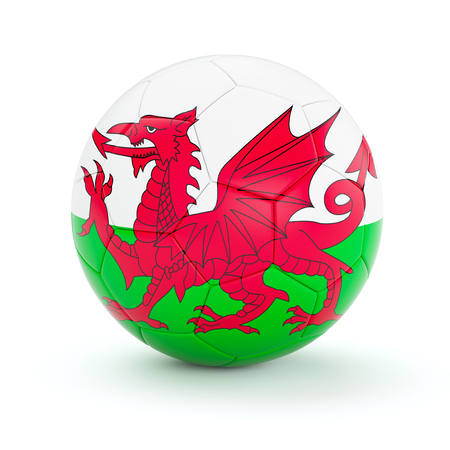 welsh: Wales soccer football ball with Welsh flag isolated on white background Stock Photo
