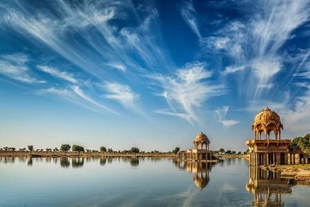 jaisalmer: Indian landmark Gadi Sagar - artificial lake. Jaisalmer, Rajasthan, India