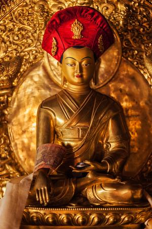 gompa: Buddha Sakyamuni statue in Lamayuru Gompa (Tibetan Buddhist monastery). Ladakh, India
