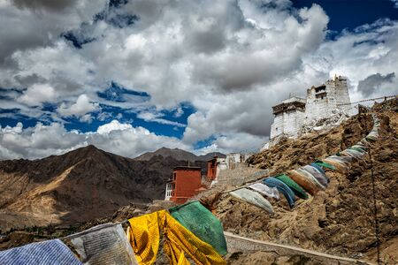 Leh Tsemo fort and gompa and lungta (prayer flags) flying in the wind. Leh, Ladakh, Jammu and Kashmir, India