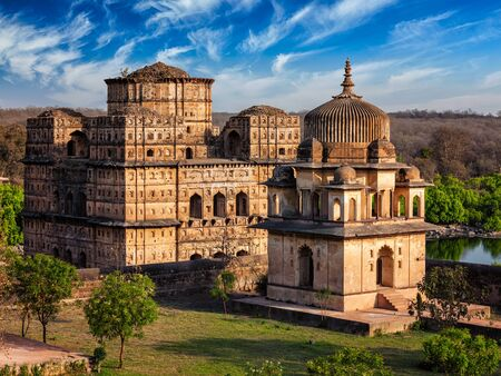 pradesh: Royal cenotaphs of Orchha in Orchha, Madhya Pradesh, India Stock Photo