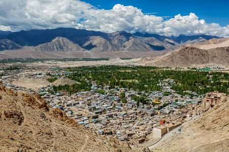 leh: View of Leh from above. Ladakh, Jammu and Kashmir, India