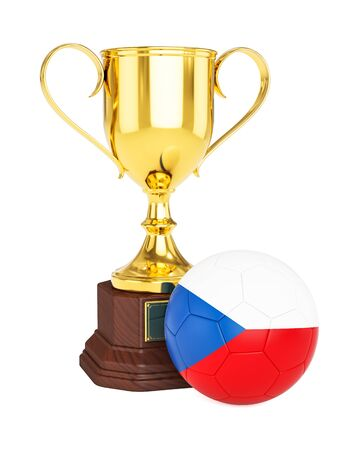 czech republic flag: 3d rendering of gold trophy cup and soccer football ball with Czech Republic flag isolated on white background Stock Photo