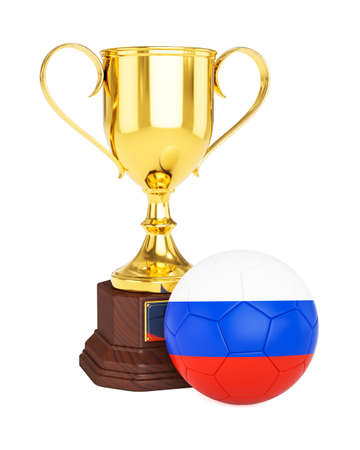 cup of russia: 3d rendering of gold trophy cup and soccer football ball with Russia flag isolated on white background