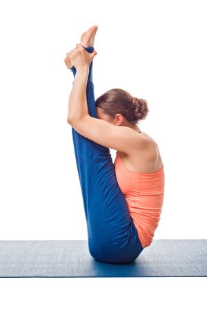 ashtanga: Woman doing Ashtanga Vinyasa yoga asana Urdhva mukha paschimottanasana - upward facing intense west stretch isolated on white