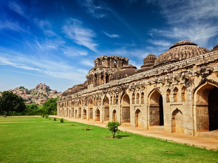 horizontals: Ancient ruins of Elephant Stables in Royal Centre. Hampi, Karnataka, India Stock Photo