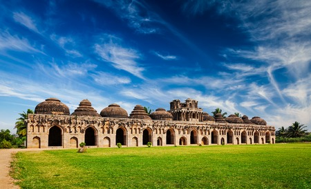 horizontals: Ancient ruins of Elephant Stables in Royal Centre. Hampi, Karnataka, India. Stitched panorama Stock Photo