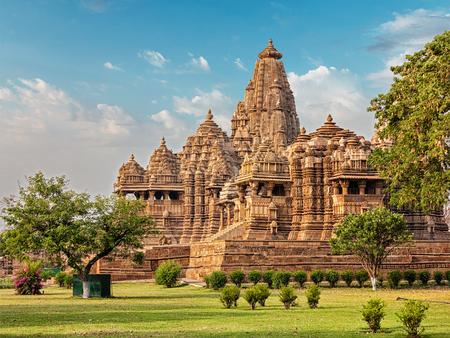 madhya: Famous indian Madhya Pradesh tourist landmark - Kandariya Mahadev Temple, Khajuraho, India Stock Photo