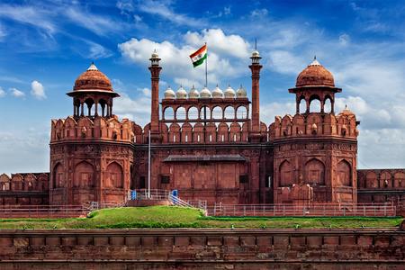 India famous travel tourist landmark and symbol - Red Fort (Lal Qila) Delhi with Indian flag - Delhi, India