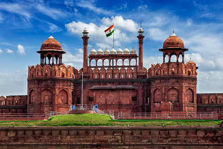 India famous travel tourist landmark and symbol - Red Fort (Lal Qila) Delhi with Indian flag - Delhi, India