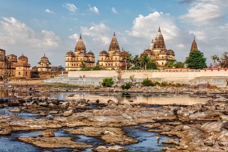 madhya pradesh: Tourist indian landmark - view of Royal cenotaphs of Orchha over Betwa river. Orchha, Madhya Pradesh, India Stock Photo