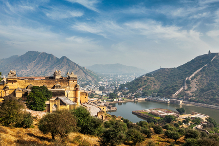 amber fort: Indian travel famous tourist landmark - view of Amer (Amber) fort and Maota lake, Rajasthan, India