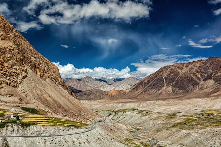 kashmir: Kardung village in Himalayas in Ladakh, Jammu and Kashmir, India Stock Photo