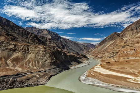 ladakh: Confluence of Indus and Zanskar Rivers in Himalayas. Indus valley, Ladakh, India