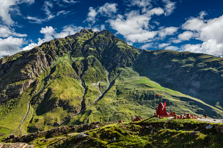 religious building: Small Hindu shrine on descend from Rohtang La pass to Lahaul valley. Himachal Pradesh, India