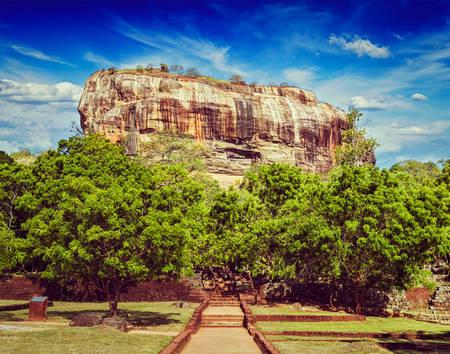 sri lankan: Vintage retro effect filtered hipster style image of Sigiriya rock - famous Sri Lankan tourist landmark, Sri Lanka