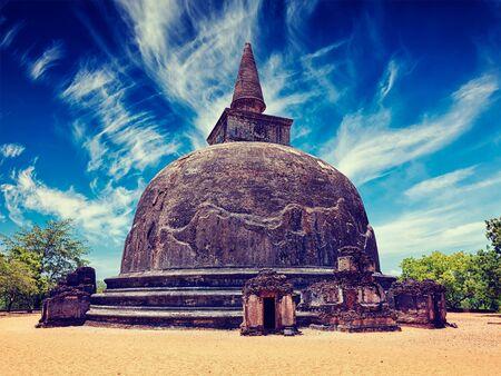 dagoba: Vintage retro effect filtered hipster style image of Kiri Vihara - ancient dagoba tourist landmark. Pollonaruwa, Sri Lanka