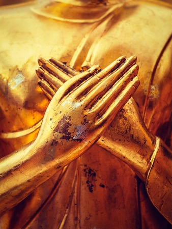 human beings: Vintage retro effect filtered hipster style image of gold Buddha statue hands close up in Wat Phra That Doi Suthep, Chiang Mai, Thailand