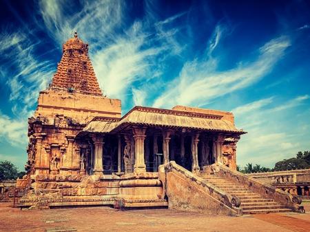 tamil nadu: Vintage retro effect filtered hipster style image of famous tourist landmark and piligrimage site of Tamil Nadu -   Brihadishwara (Brihadishwarar) Temple. Tanjore (Thanjavur), Tamil Nadu, India
