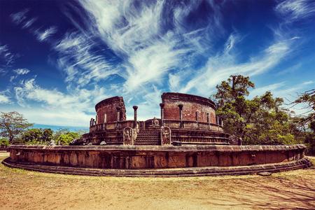 dagoba: Vintage retro effect filtered hipster style image of ancient Vatadage (Buddhist stupa) in Pollonnaruwa, Sri Lanka Stock Photo