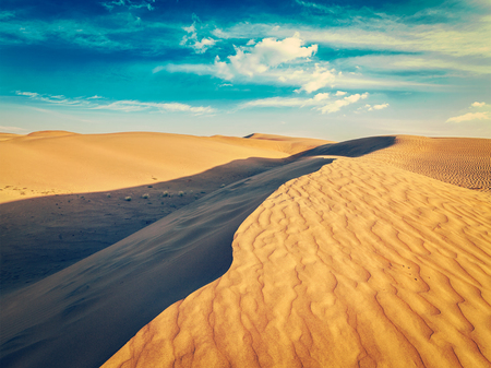 thar: Vintage retro effect filtered hipster style image of Sam Sand dunes in Thar Desert. Rajasthan, India