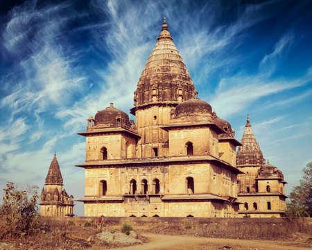 madhya pradesh: Vintage retro effect filtered hipster style image of royal cenotaphs of Orchha. Orchha, Madhya Pradesh, India