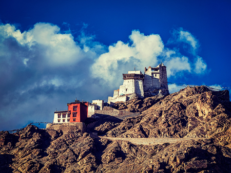 gompa: Vintage retro effect filtered hipster style image of Namgyal Tsemo gompa and fort. Leh, Ladakh, Jammu and Kashmir, India Stock Photo