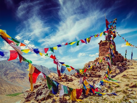 flags: Vintage retro effect filtered hipster style image of Buddhist prayer flags (lungta) in Spiti Valley, Himachal Pradesh, India