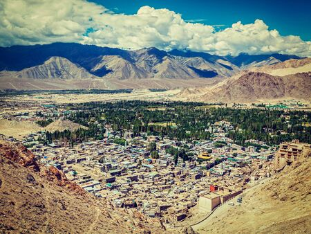 aerial view: Vintage retro effect filtered hipster style image of Leh from above. Ladakh, Jammu and Kashmir, India Stock Photo