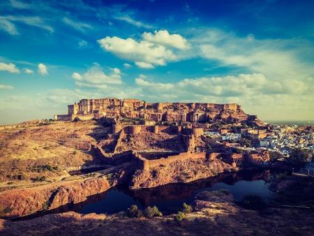 pone: Vintage retro effect filtered hipster style image of Mehrangarh Fort famous indian tourist landmark, Jodhpur, Rajasthan, India Stock Photo